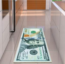 100 Dollar Bill Rug Nonslip Area Runner Decorative Kitchen H
