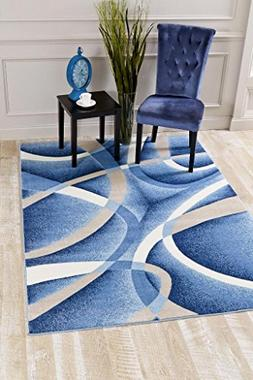 2305 Blue Swirls 7'10 x10'6 Modern Abstract Area Rug Carpet