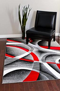 2305 Gray Black Red White Swirls 6'5 x 9'2 Modern Abstract A