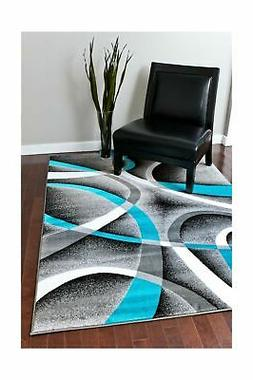 Persian Area Rugs 8x11 2305 Turquoise White Swirls 7'10 x10'