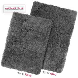 2PC Shaggy Area Rug Set with Non-Slip Backing Rubber Large &