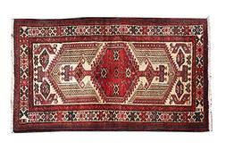 "HeSamCrafts 3'2"" x 5'4"" Red and Beige Geometric Hand Knotted"