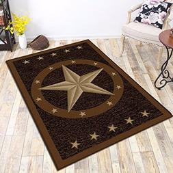 "3'3""x5' Texas Western Star Rustic Cowboy Decor Brown Black A"