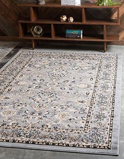 Unique Loom Kashan Collection Traditional Floral Gray Home D