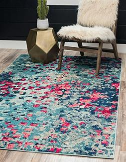 Unique Loom Casablanca Collection Modern Abstract Blue Home
