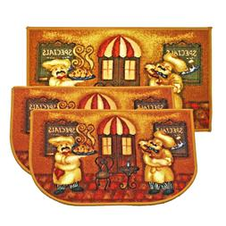 3pc Kashi Home Decorative Food Theme Kitchen Area Rug Slice