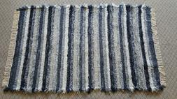 "4' x 6' 6"" Navy & Gray U. S. Hand Woven Textured Large Area"