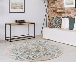 4620 Distressed Cream 6 Foot Round Area Rug Carpet