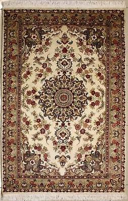 Rugstc 4x6 Pak Persian Ivory Area Rug, Hand-Knotted,Floral w