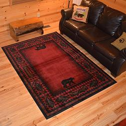 1 Piece 5'3 x 7'3 Red Black Southwest Animal Print Area Rug,