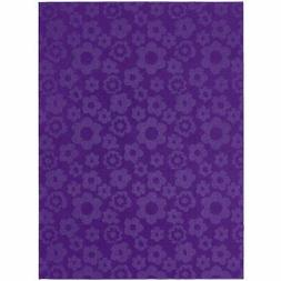 5' x 7' Purple Area Rug with Floral Flowers Pattern - Made i