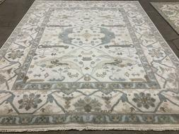 8x10 NEW OUSHAK WOOL RUG HAND KNOTTED ORIENTAL cream blue su
