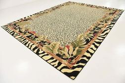9x12 Jungle Safari Skins Tropical Zebra Area Rug Wildlife An