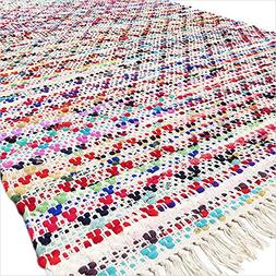 EYES OF INDIA - 5 X 7 ft Colorful Chindi Woven Rag Area Rug