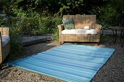 Fab Habitat Cancun Indoor/Outdoor Rug,  Turquoise & Moss Gre