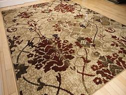 Modern Burgundy Rugs Living Dining Room Red Cream Beige Area