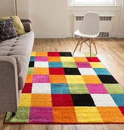 Modern Squares Multi Geometric Area Rug 8x10  Abstract Check