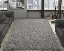 Ottomanson Ultimate Shaggy Grey Solid Area Rug
