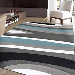 """Rugshop Abstract Contemporary Modern Area Rug, 7' 10"""" x 10'"""