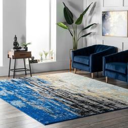 nuLOOM Abstract Contemporary Modern Area Rug Multi in Blue,