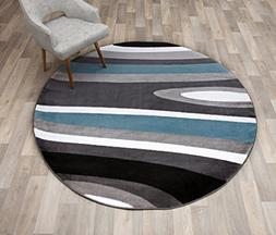 """Rugshop Abstract Contemporary Modern Round Area Rug, 6' 6"""" D"""
