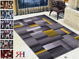 Handcraft Rugs Abstract Geometric Modern Squares Pattern Yel