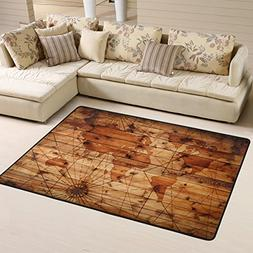Abstract Vintage World Map Pattern on Wooden Board Area Rugs