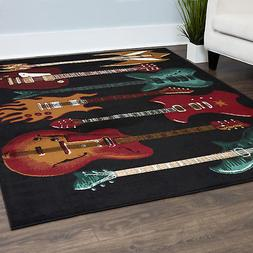 Acoustic Electric Guitar Black Area Rug Red Fender Musical I