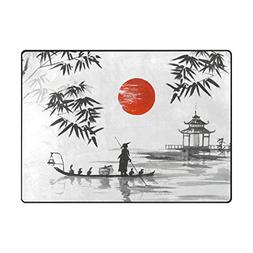 ALAZA Super Soft Modern Japanese Painting Man With Boat Area