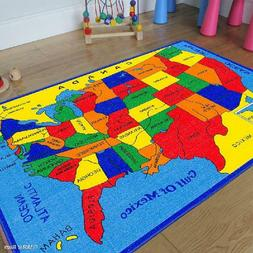 Allstar Kids / Baby Room Area Rug. Usa Map. Fifty States. Br
