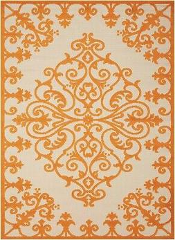aloha alh12 orange indoor outdoor area rug