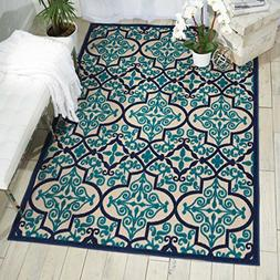 Nourison Aloha ALH14 Indoor/Outdoor Navy Aqua Moroccan Area