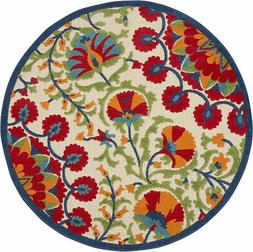 """Nourison Aloha Round 5'3"""" Red And Multicolor Area Rug 099446"""