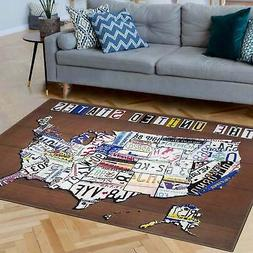 America United States License Plate Map Non-Slip Indoor Brow