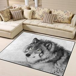 Naanle Animal Area Rug 5'x7', Black and White Wolf Polyester