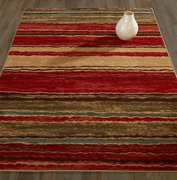 Diagona Designs Anne Stripe Red/Brown Area Rug