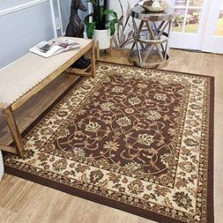 Area Rug 5x7 Brown Traditional Kitchen Rugs and mats | Rubbe