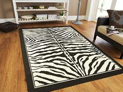 Large Area Rugs for Living Room 8x10 Zebra Animal Print Rugs