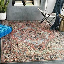 """Artistic Weavers Area Rug, 5' x 7'6"""", Bright Red/Wheat"""