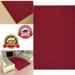 Area Rug 5 x 7 Ft Solid Square Town Carpets Living Room Floor Modern Decor Red
