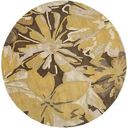 "Art of Knot ""Amaranthus"" Area Rug, 4' Round, Tan/Dark Brown/"