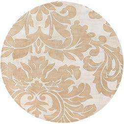 """Art of Knot """"Vlore"""" Area Rug, 8' Round, Camel/Beige"""