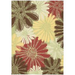 "Area Rug: Gerbera Sketch, Green, 5'3"" X 7'5"
