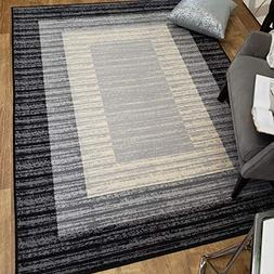 Area Rug 5x7 Gray Border Stripe Kitchen Rugs and mats Rubber