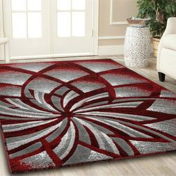 Area rug Nwprt #62 Modern gray black red soft pile size opti