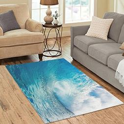 InterestPrint Area Rug Ocean Heavy Waves Anti Skid Carpet 5'