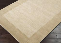 Area Rug 7x9 Rectangle Solid/Striped Beige Color - Surya Mys