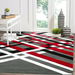 Area rug SmtN#113 Modern, premium quality red gray and black