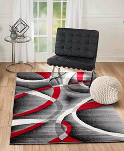 Area Rug ST34 Red Black Grey White Contemporary Abstract. Si
