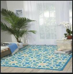 Area Rugs 8x10 Clearance Turquoise Outdoor Patio Indoor Easy